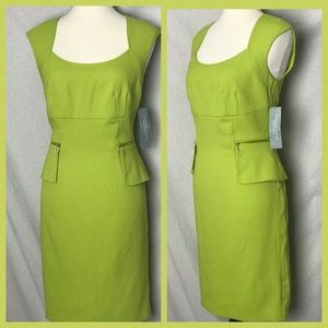 Lomdon Times Petites 10P Lime Green Sheath Dress